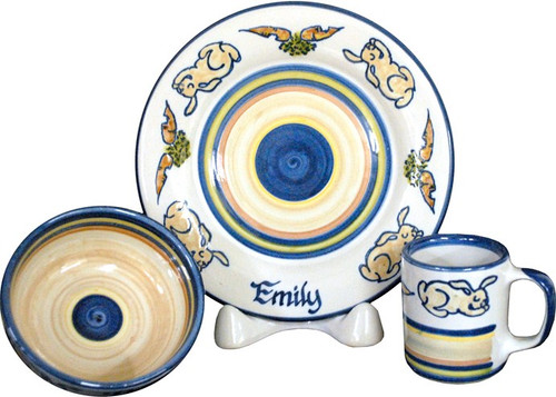 Personalized 3-Piece Child's Place Setting with Rabbits & Carrots