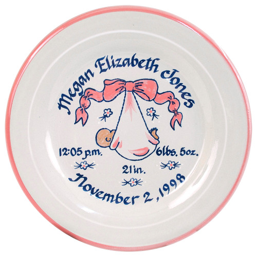 "Personalized 9"" Rimmed Birth Plate with Baby Pink Blanket"