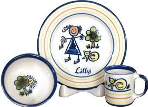 Personalized 3-Piece Child's Place Setting with Girl Stick Figure