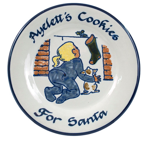 """Personalized 9"""" Rimmed Plate with Girl Leaving Cookies for Santa"""