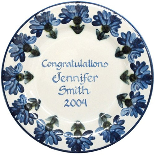 "Personalized 11"" Rimmed Plate with Bachelor Button Pattern"