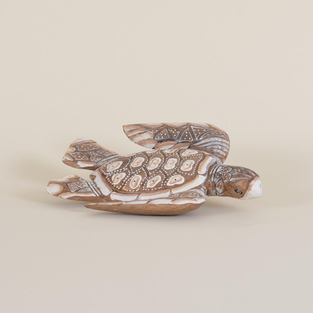 07-019,A7  Wooden Sea Turtle Swimming