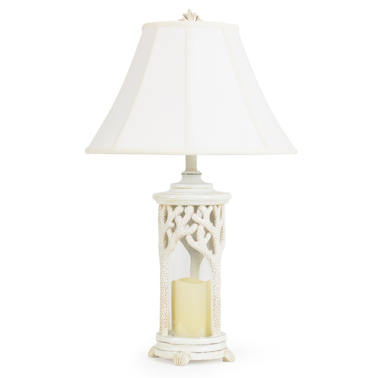 381TL Coral Over Glass Cylinder Table Lamp W/Nightlight