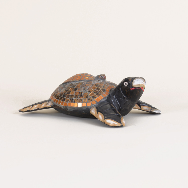 11-092 Wooden Mosaic Turtle With Baby