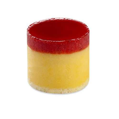 Mango Tower, made with Mango Puree Sorbet, a vanilla center, and topped with Strawberry Puree. Made with real fruit!