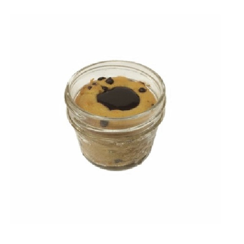 Chocolate Chip Souffle with chocolate center, served in a 4 oz. glass mason jar.