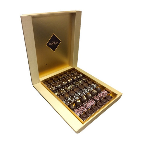 Open Gold Chocolate Cigar Box holding 60 assorted chocolate Jewels