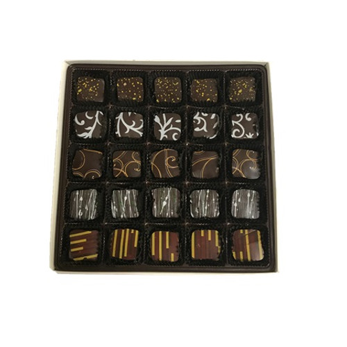 Open Jewel Gift Box containing 25 Assorted Chocolate Jewels