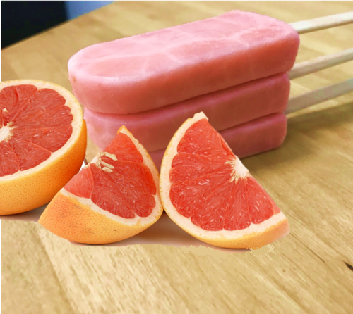 Sorbet Popsicle made with tangy-sweet grapefruit sorbet