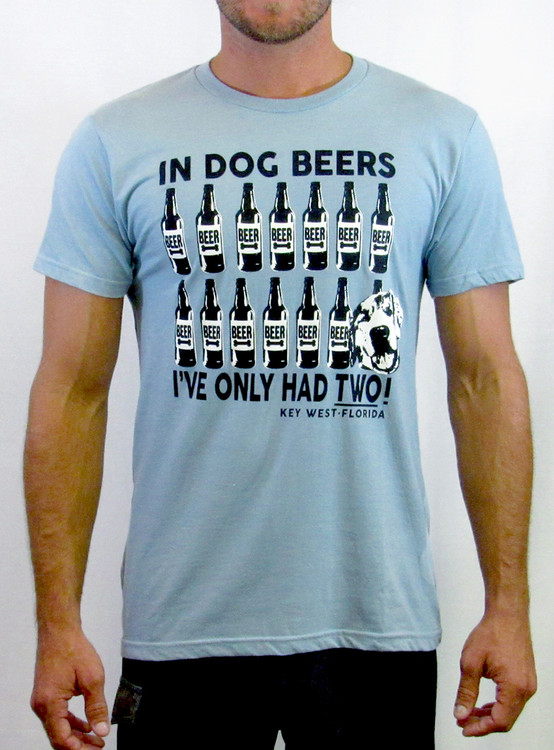 Dog Beers Tee Grey Blue