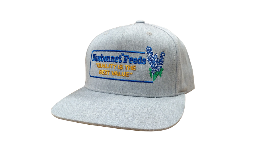 "Light grey ""throwback"" cap with retro-style Bluebonnet logo"