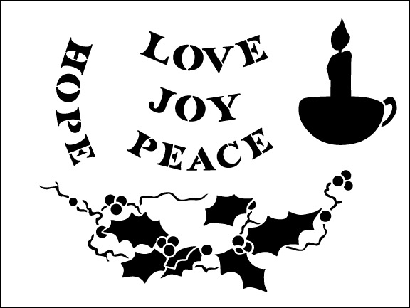 Christmas Candle Lazy Susan Stencil