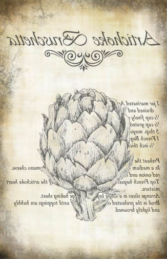 Artichoke Bruschetta Recipe - Antique 10x16- Image Transfer