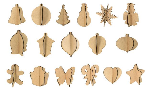 3D Wood Ornament Set