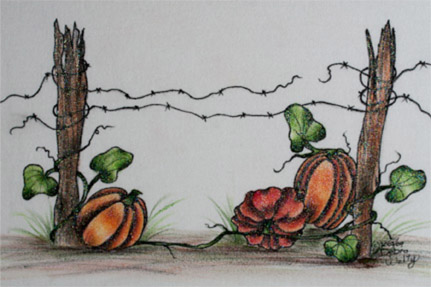 Pumpkins and Fence - E-Packet - Debra Welty