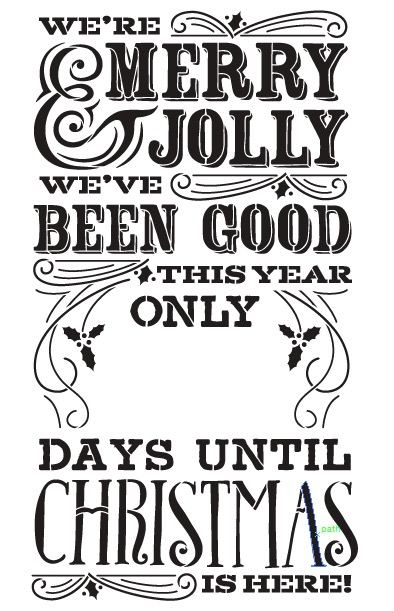 "Merry Christmas Chalk Countdown Stencil 11"" x 17"""