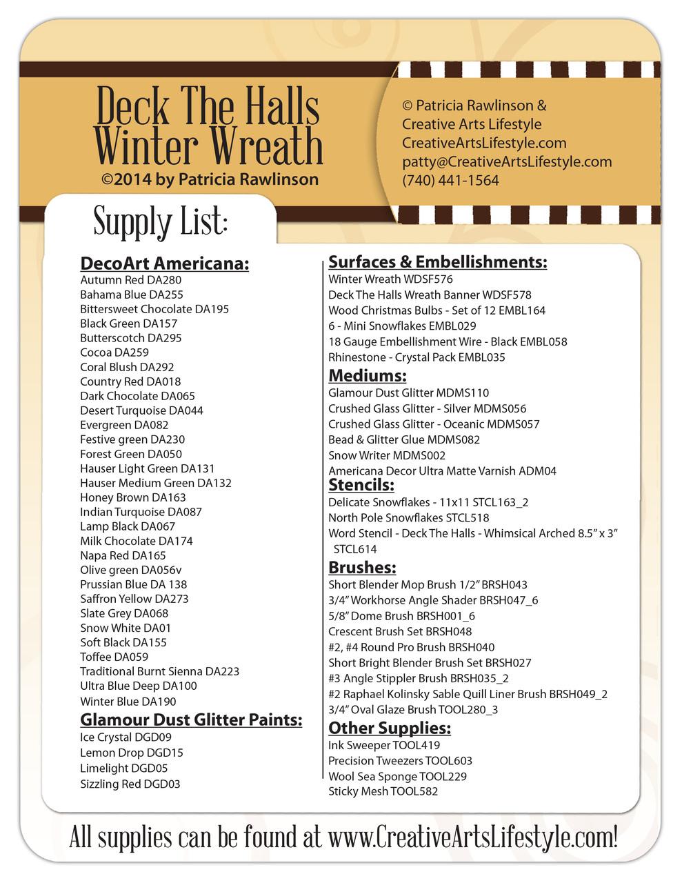 Deck the Halls Winter Wreath E-Packet - Patricia Rawlinson