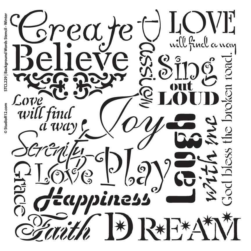 "Background Words Stencil - Faith & Inspiration - 14"" x 14"""