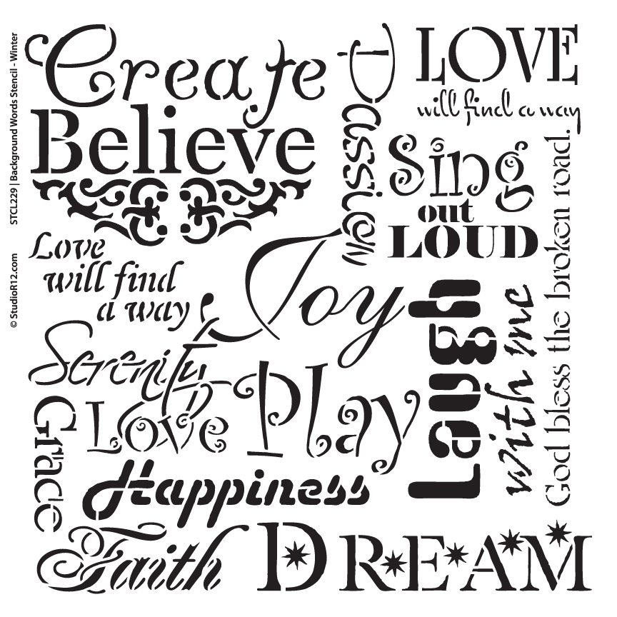 "Background Words Stencil - Faith & Inspiration - 16"" x 16"""