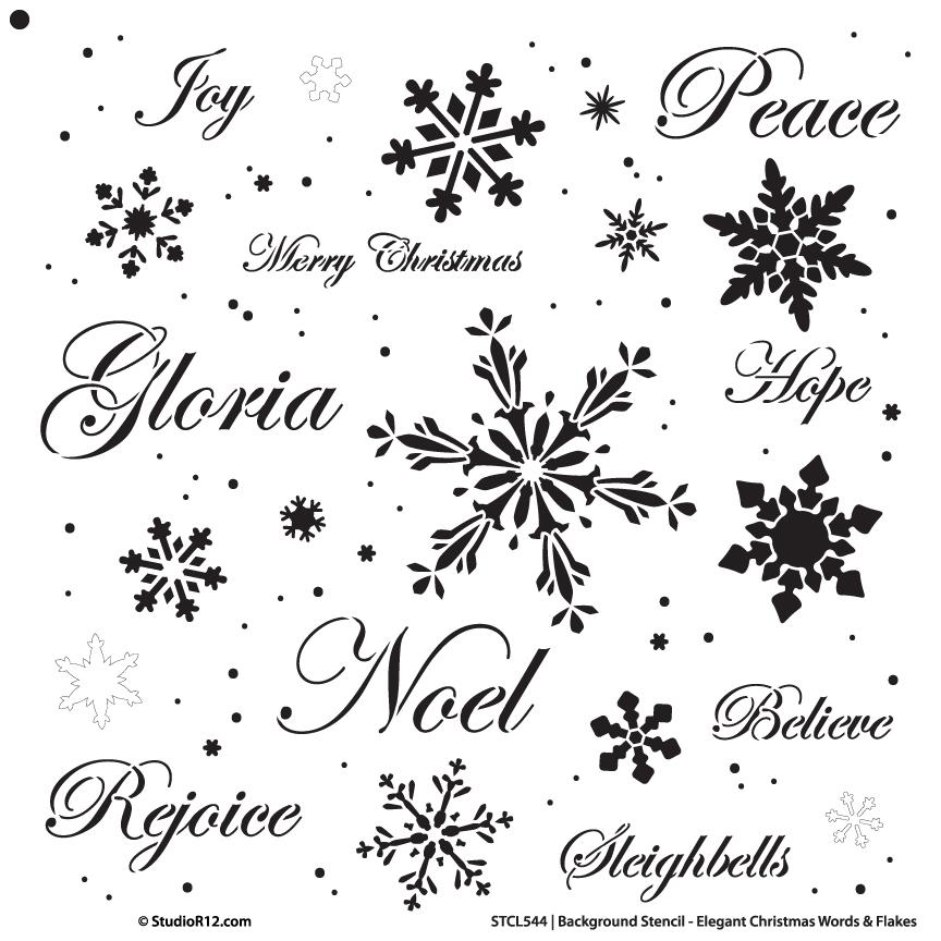 "Background Words Stencil - Elegant Christmas Words & Snowflakes - 14"" x 14"""
