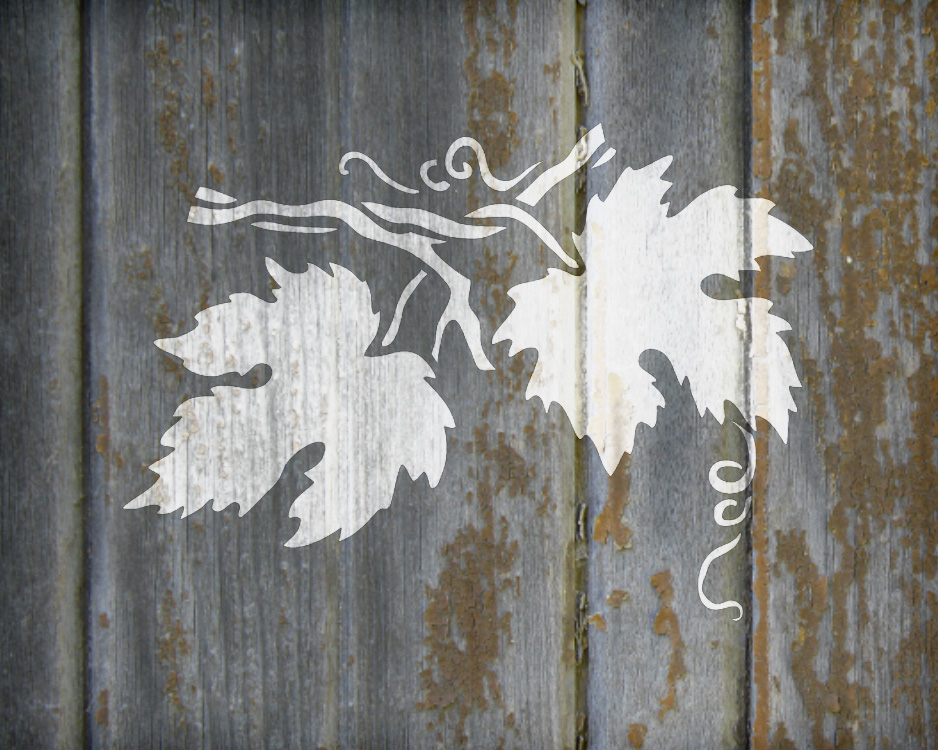 "Grape Leaves Stencil - Medium - 5"" x 4"" - STCL504_2 - by StudioR12"