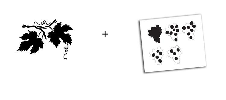 """Grape and Leaf Stencil Pair - Medium - 5"""" x 4"""" and 9"""" x 8"""""""