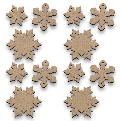 Tiny Wood Snowflakes - Set of 12