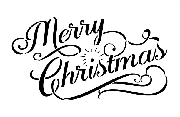 Merry christmas word stencil elegant vintage 85quot x 55quot for Merry christmas letter stencils