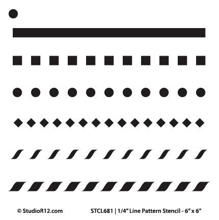 "3/8"" Line Pattern Stencil - 6"" x 6"" - STCL682_1 - by StudioR12"