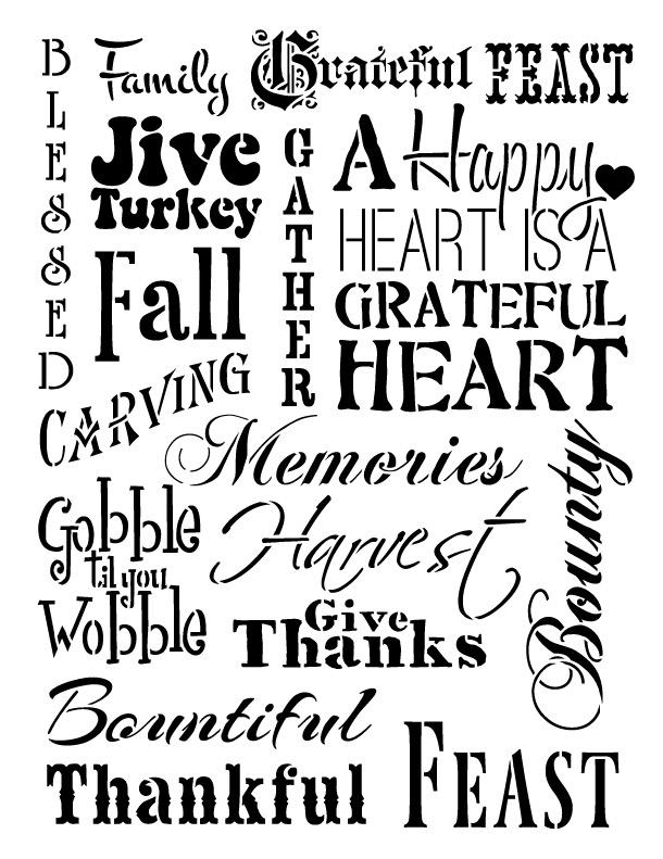 """Thanksgiving Background Word Stencil  - 8.5"""" x 11"""""""
