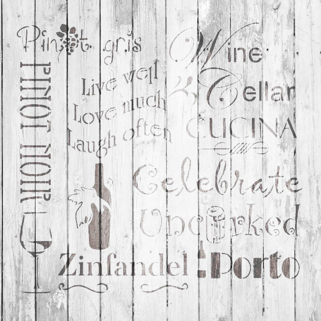 "Celebrate Wine Background Word Stencil  - 12"" x 12"" - STCL696_2 - by StudioR12"