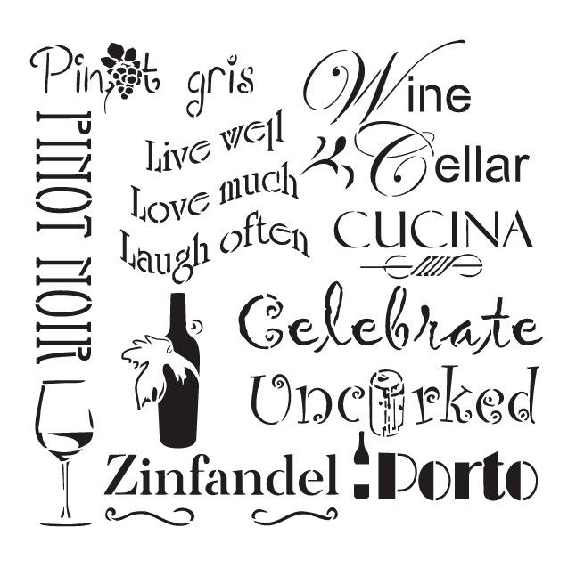 "Celebrate Wine Background Word Stencil  - 16"" x 16"" - STCL696_3 - by StudioR12"