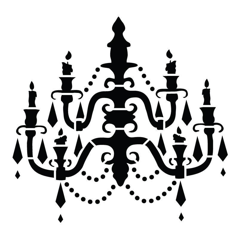 """Chandelier - Art Stencil - Baroque - 12"""" x 12"""""""