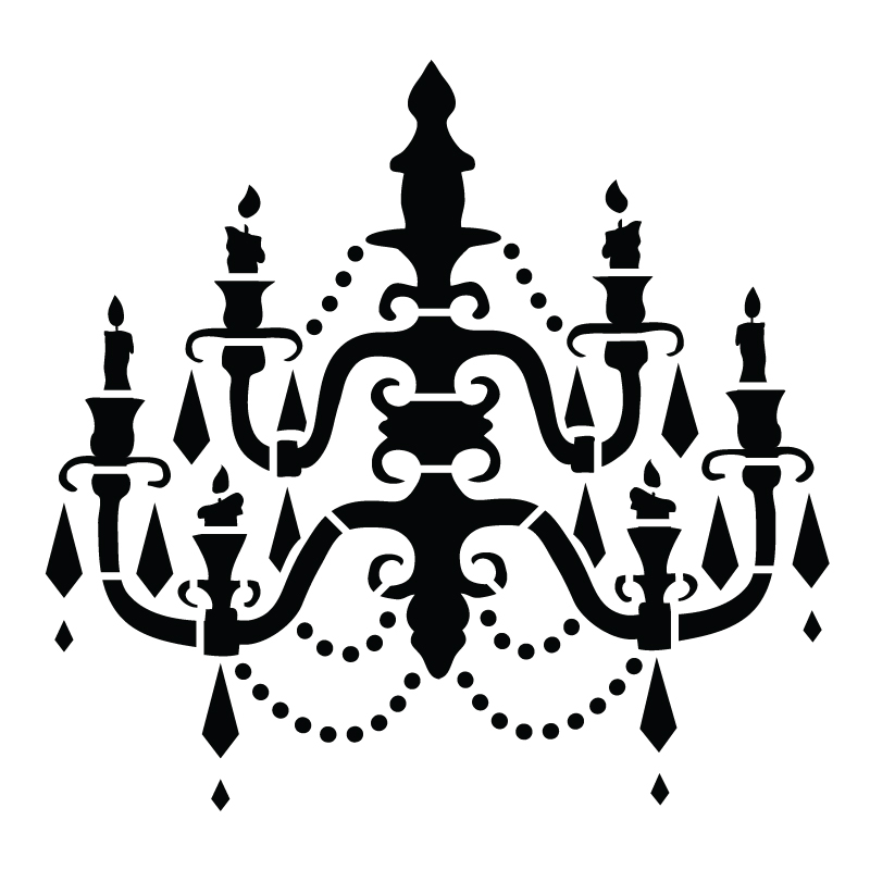 Chandelier art stencil baroque 19 12 x 19 12 aloadofball Image collections