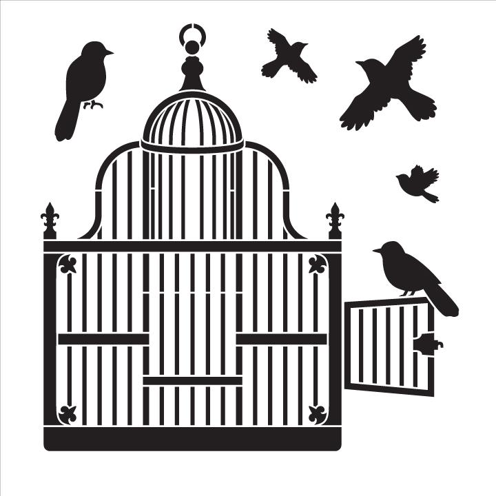 """Victorian Birdcage with Birds - Art Stencil - 10"""" x 10"""""""