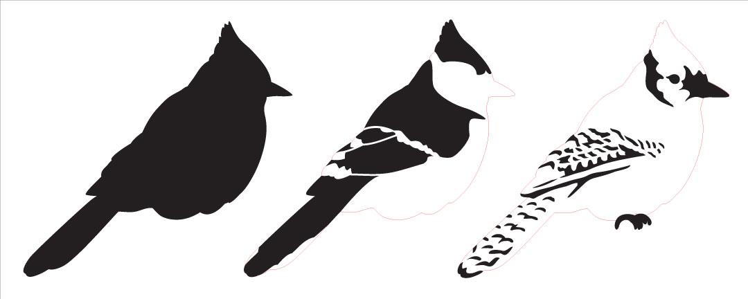 "Blue Jay Layered Art Stencil - Profile - 15"" x 6"""
