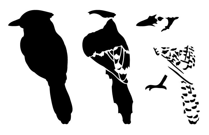 "Blue Jay Layered Art Stencil - Back - 10"" x 6 1/2"""