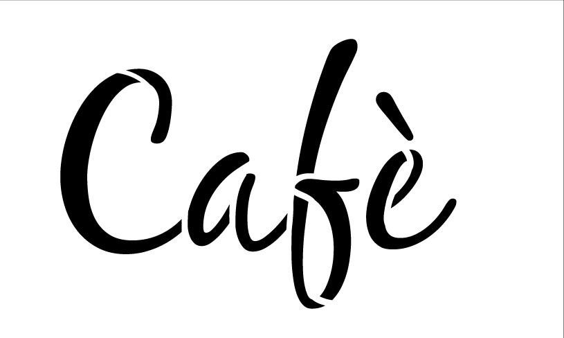 Cafe Word Stencil Casusal Script 16x 11