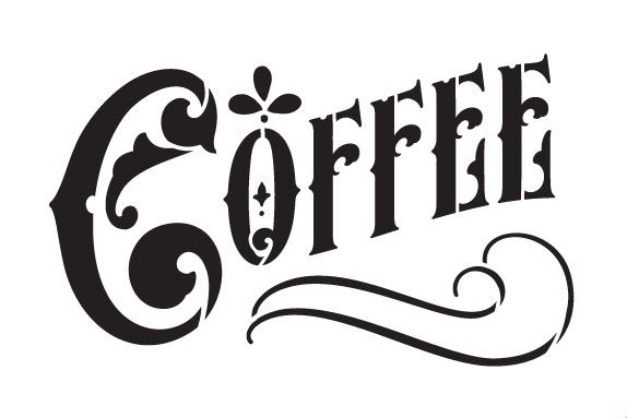 "Coffee Word Art Stencil - Victorian Headline - 9"" X 6"""