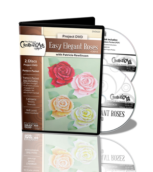 Easy Elegant Stenciled Roses DVD and Pattern Packet - Patricia Rawlinson