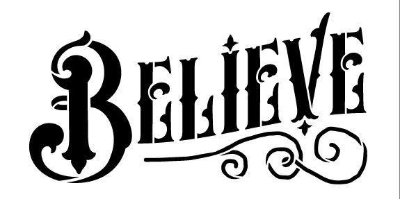"Believe Word Art Stencil - Magical Vintage - 8"" X 4"""