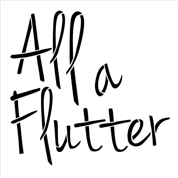 """All A Flutter Word Stencil - 6"""" x 6"""""""