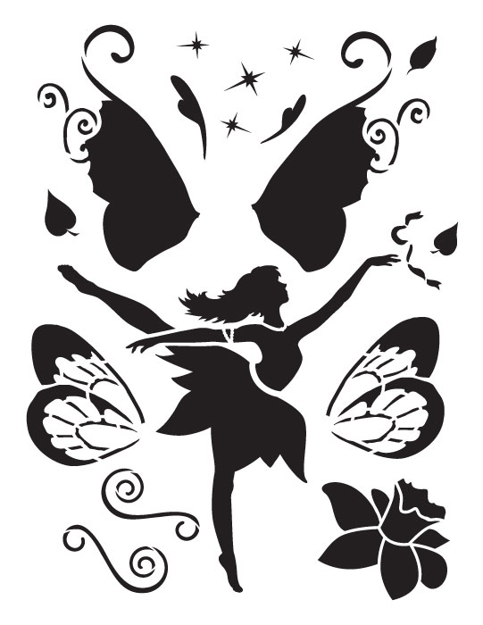 "Dancing Fairy Art Stencil - 8.5"" x 11"""