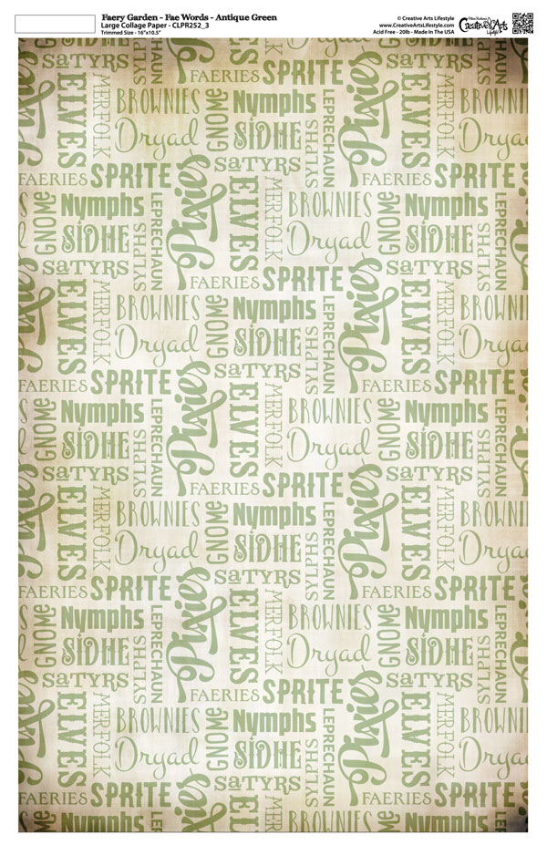 "Faery Garden Collage Paper - Fae Words - Antique Green - 11"" x 17"" (10.5"" x 16.25"" artwork area)"