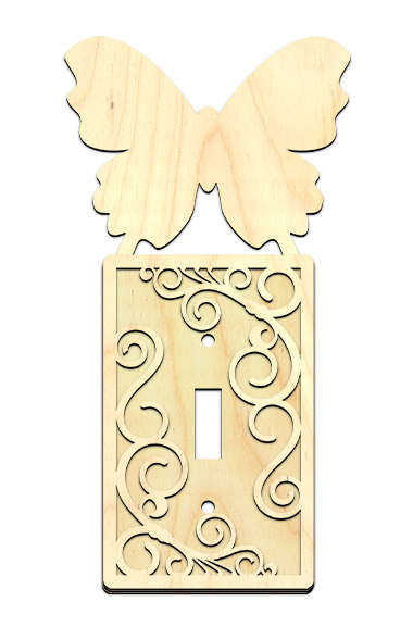 Butterfly Light Switch Cover with Swirls Overlay