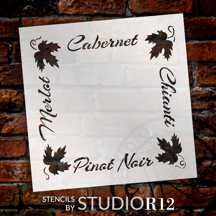 "French Wine Frame Word Art Stencil - 19"" x 19"" - STCL1035_4 - by StudioR12"