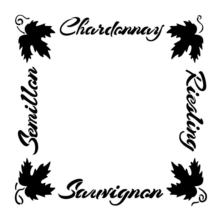 "European Wine Frame Word Art Stencil - 10"" x 10"" - STCL1034_1 - by StudioR12"