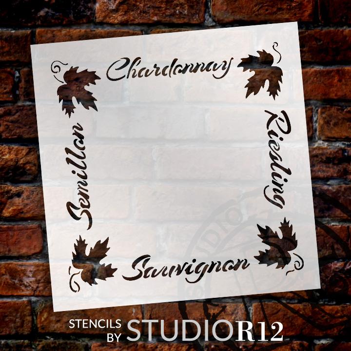 "European Wine Frame Word Art Stencil - 19"" x 19"" - STCL1034_4 - by StudioR12"