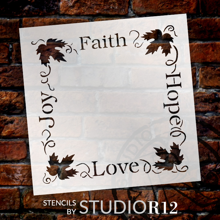 "Faith Hope Love Joy Grapevine Frame Word Art Stencil - 10"" x 10"" - STCL1036_1 - by StudioR12"