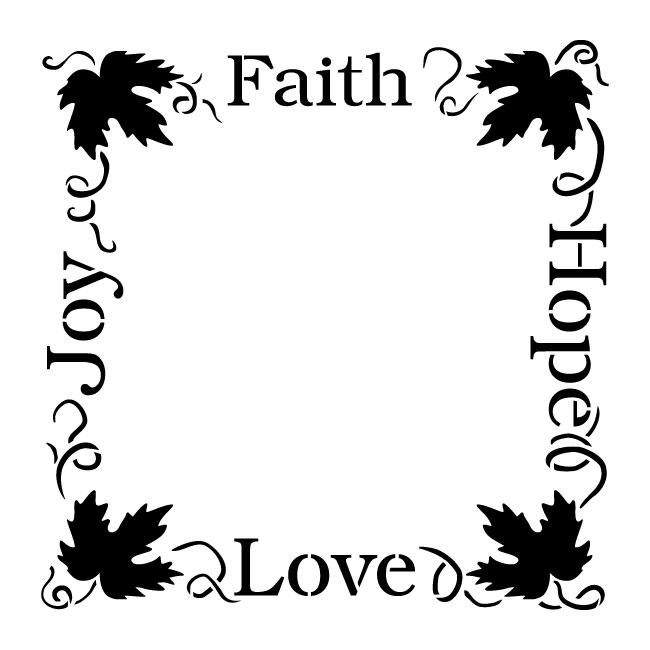"Faith Hope Love Joy Grapevine Frame Word Art Stencil - 16"" x 16"" - STCL1306_3 - by StudioR12"